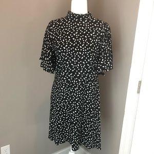 NWT Zara Polka Dot Black and White Dress